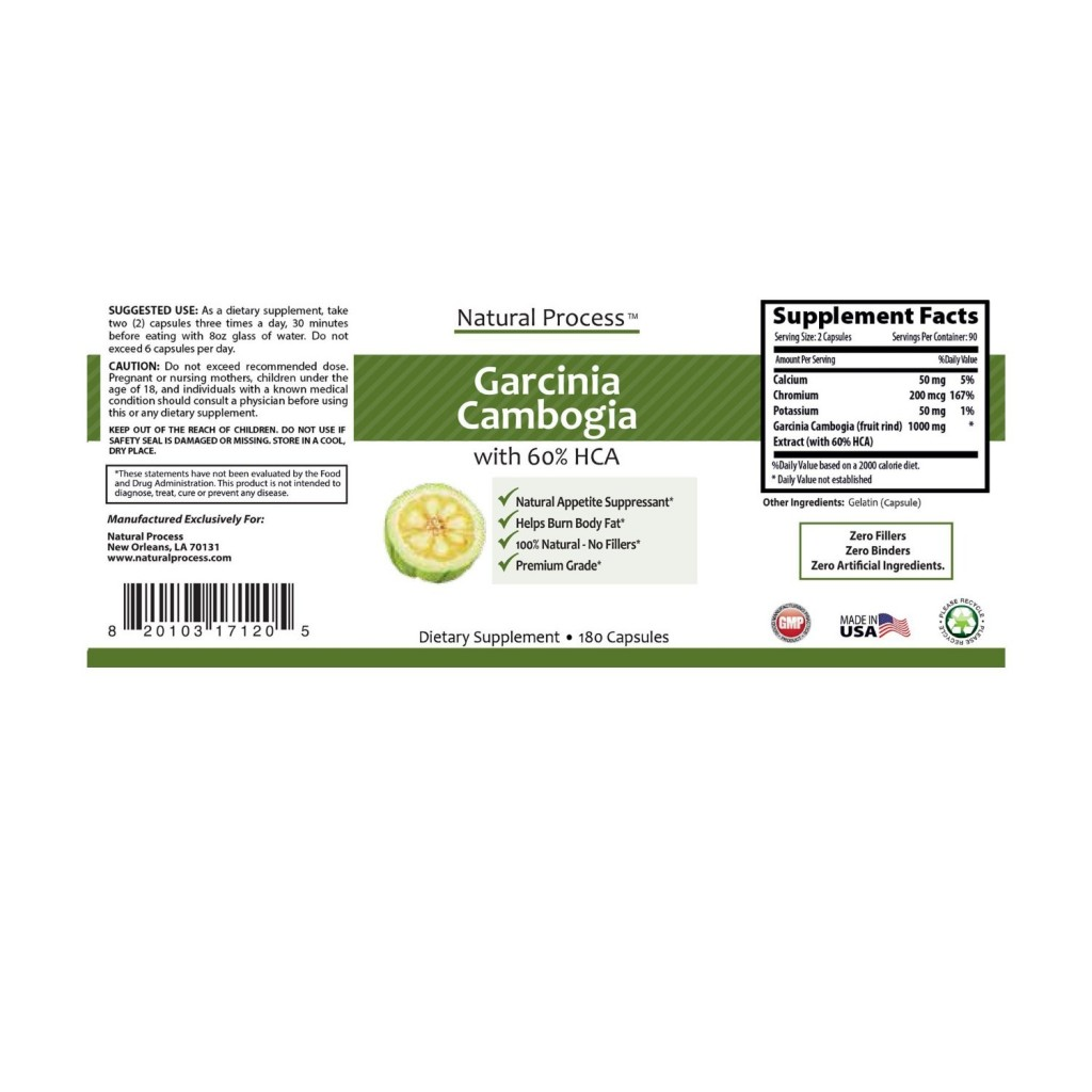 Garcinia Cambogia Extract Pure 1000mg Per Serving