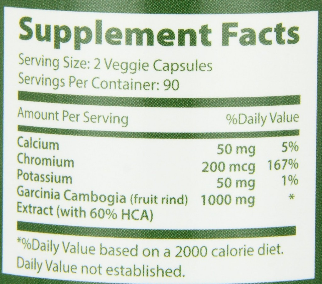 Garcinia Cambogia Extract Pure Appetite Suppressant With Potassium & Calcium - 3000mg