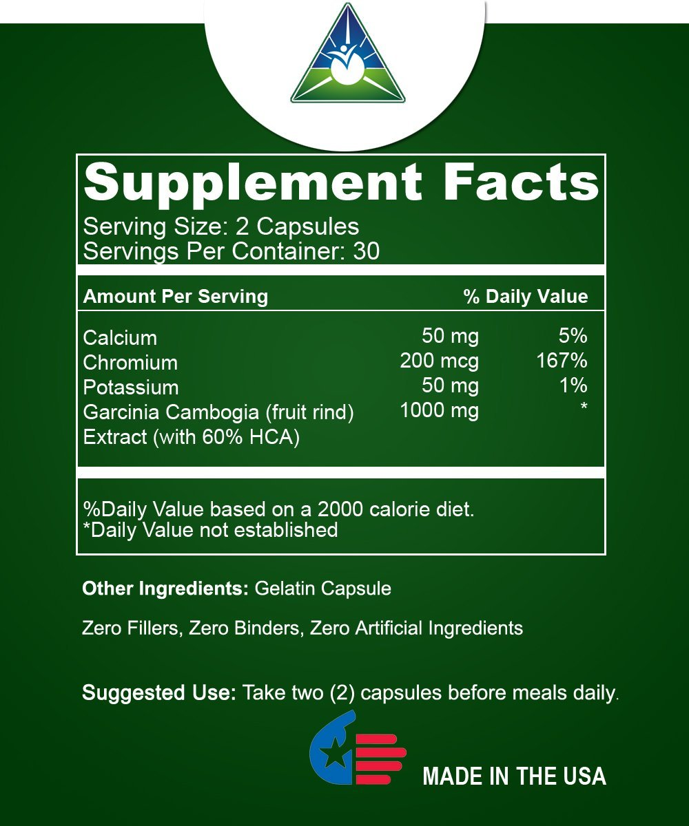 Pure Garcinia Cambogia Extract 1000 Mg Per Serving Natural Weight Loss